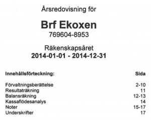 Årsredovisning för BRF Ekoxen small